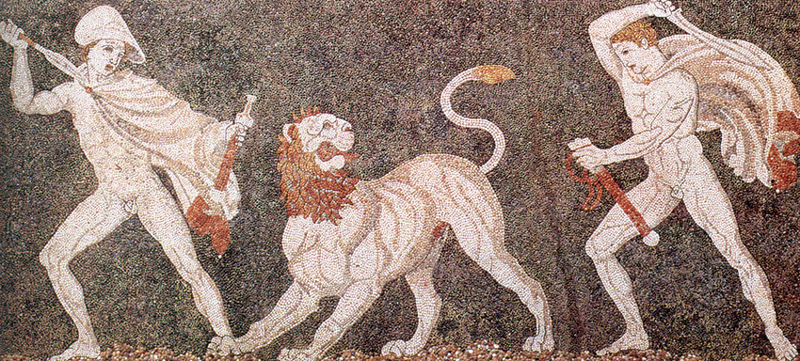 lion hunt mosaic macedonia
