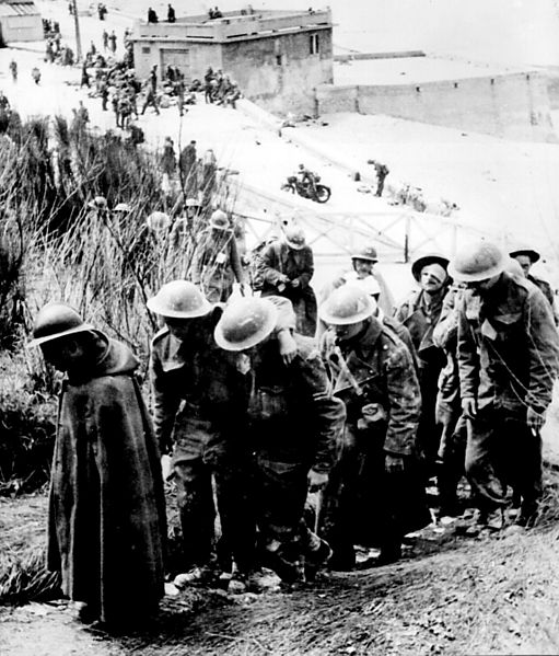 british and french prisoners led away at dunkirk