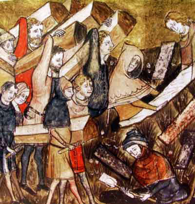 burying plague victims at tournai