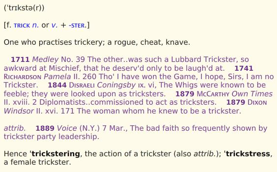 trickster in oed