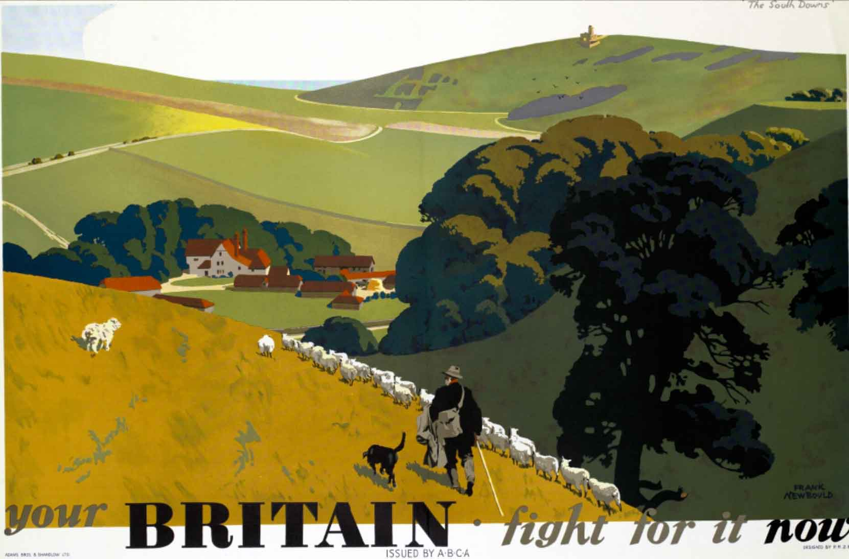 From the famous series of four posters by Newbould. An example of how an inter-war travel poster style was used unchanged during the war to arouse patriotic feelings for an idealised pastoral Britain, defined by the landscape of southern England. Newbould was a noted designer of travel posters. In 1942 he joined the War Office as an assistant designer to Abram Games.