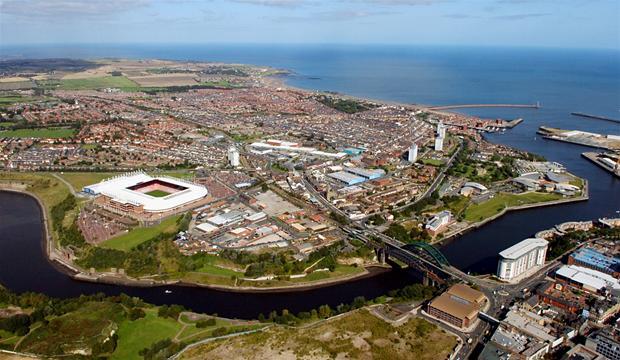"""Dated 09/09/2009 Sunderland """"BACK THE BID """" Aerial shots over Sunderland"""