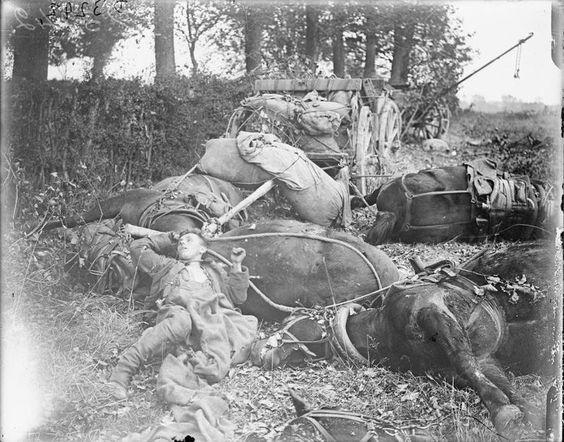 german ammunition limbers and teams caught by british shell fire le quesnoy 27 october 1918